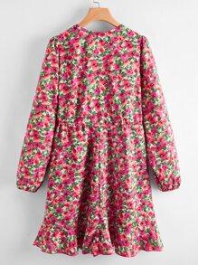 Floral Print Flounce Hem Dress