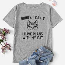 Plus Cat And Slogan Graphic Tee
