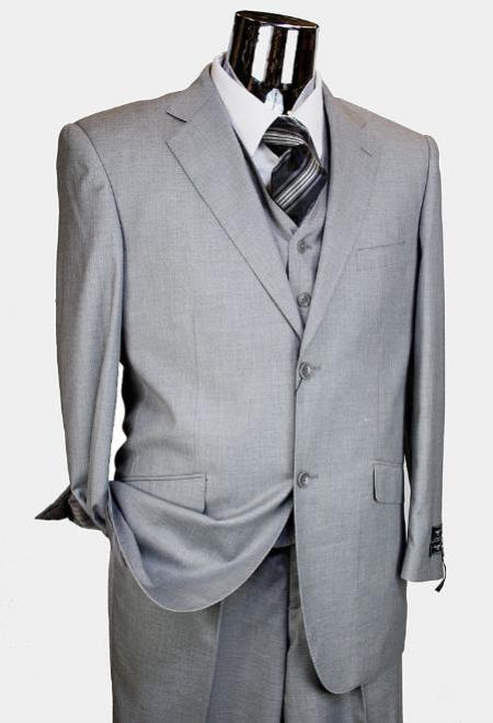 Mens 3 Piece 2 Button Suit with Single Pleated Pants Light Grey