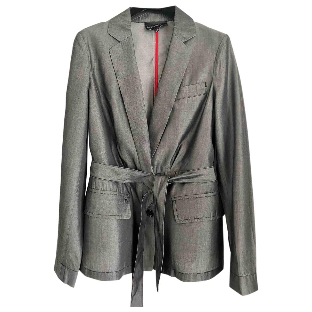 Emporio Armani - Veste   pour femme en coton - gris