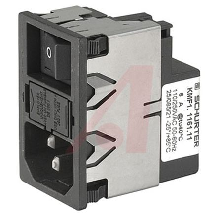 Schurter ,4A,125 V ac, 250 V ac Male Snap-In Filtered IEC Connector 2 Pole KMF1.1241.11,Quick Connect 1 Fuse