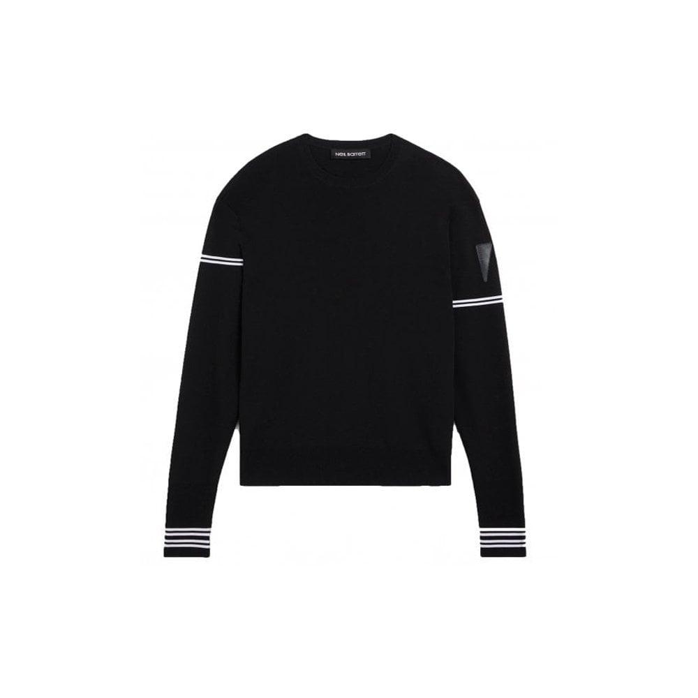 Neil Barrett Stripe Techno Knit Colour: BLACK, Size: SMALL