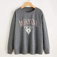 Letter Graphic Oversized Sweatshirt