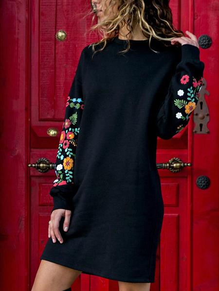 Yoins Random Floral Print Round Neck Long Sleeves Casual Dress