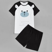 Men Cartoon Graphic Raglan Sleeve Tee and Shorts PJ Set