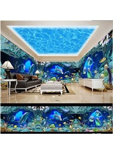 Blue Ocean and Dolphin with Coral Pattern 3D Waterproof Ceiling and Wall Murals
