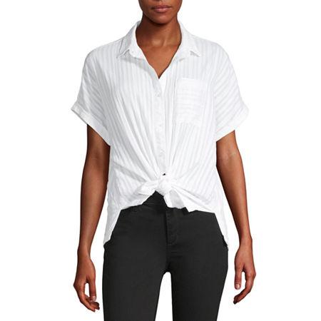 a.n.a Womens Short Sleeve Camp Shirt, Petite X-small , White