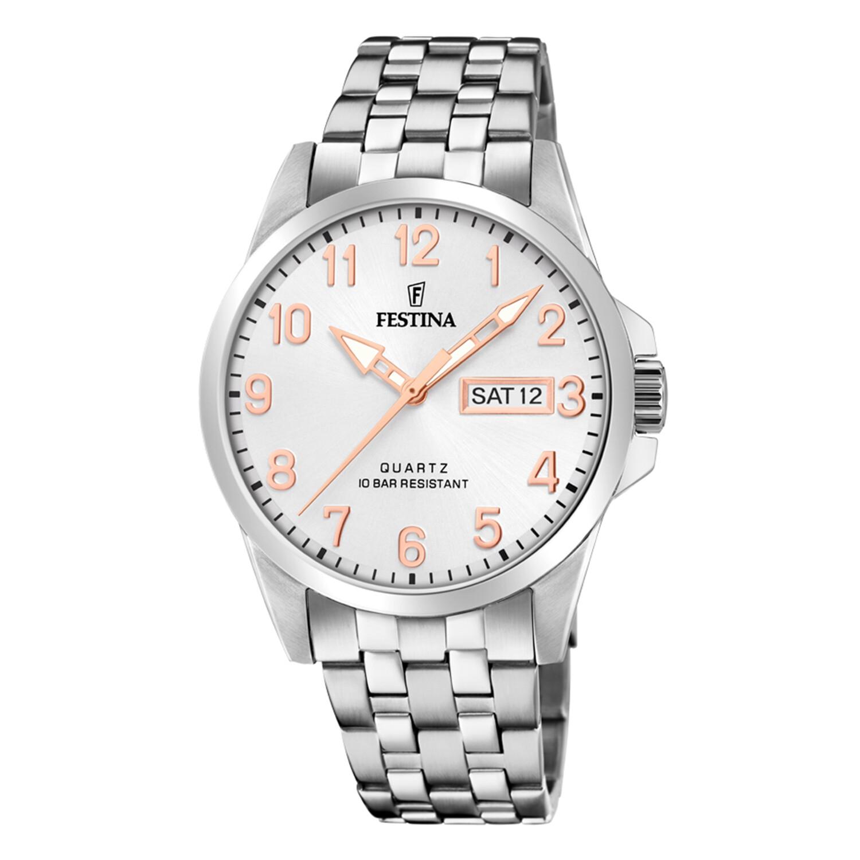 Festina Mens Classic F20357-AF37 Silver Stainless-Steel Quartz Dress Watch