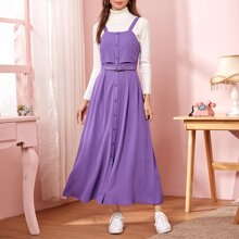Button Front Buckle Detail Pinafore Dress