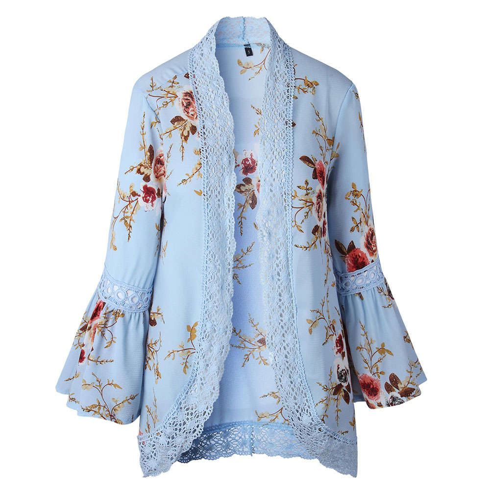 Floral Pattern Fall Spring Thin Cardigan Lace Flare Sleeve Coat