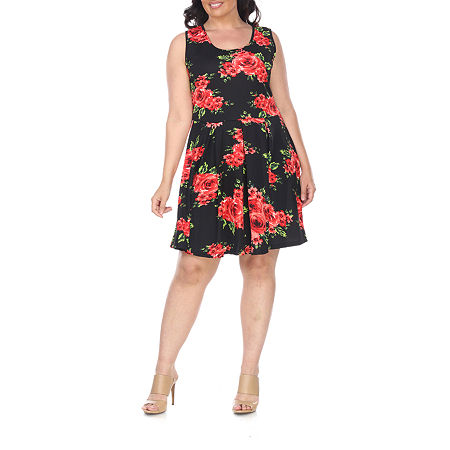 White Mark-Plus Sleeveless Floral Fit & Flare Dress, 3x , Black