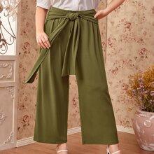 Hose mit Band vorn und breitem Beinschnitt