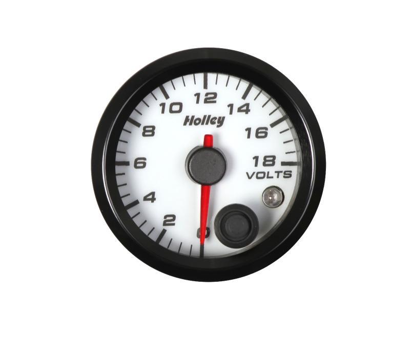 2-1/16 HOLLEY VOLT GAUGE-WHT