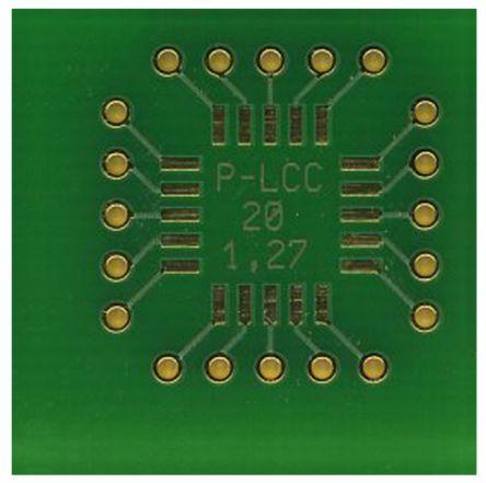 Roth Elektronik Surface Mount (SMT) Board PLCC Epoxy Glass Double-Sided 23 x 23 x 1.5mm FR4
