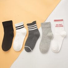 5pairs Slogan Graphic Socks