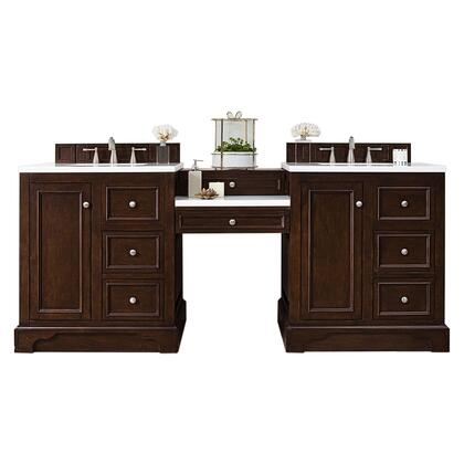 De Soto Collection 825-V82-BNM-DU-AF 82 Double Vanity Set  Burnished Mahogany with Makeup Table  3 CM Arctic Fall Solid Surface