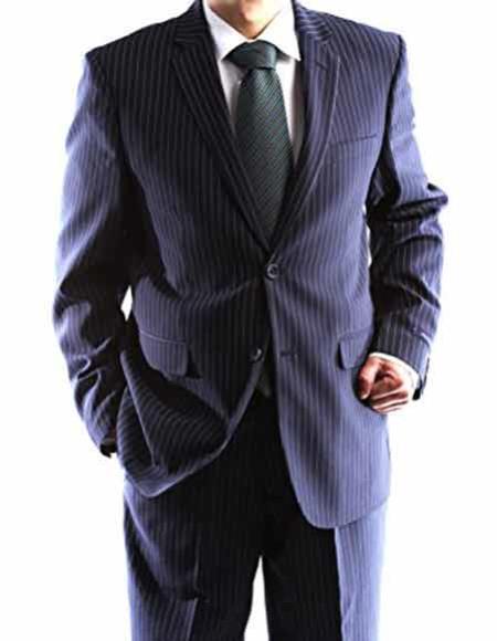 Men's Single Pinstripe  Slim Fit 2 Button Navy 1 Polyester Dress Suit