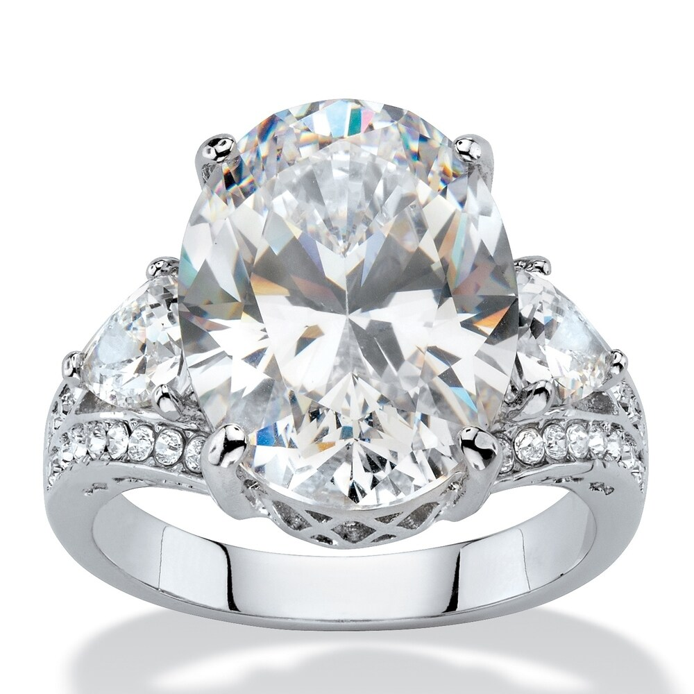 Platinum-plated Cubic Zirconia and Crystal Ring - White (9)