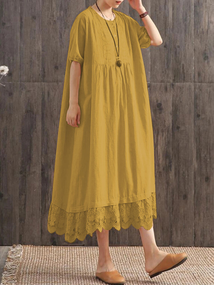 Casual Lace Patchwork Hem O-neck Plus Size Dress