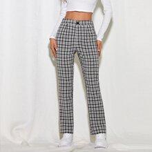 Hose mit hoher Taille, Plaid Muster und geradem Beinschnitt