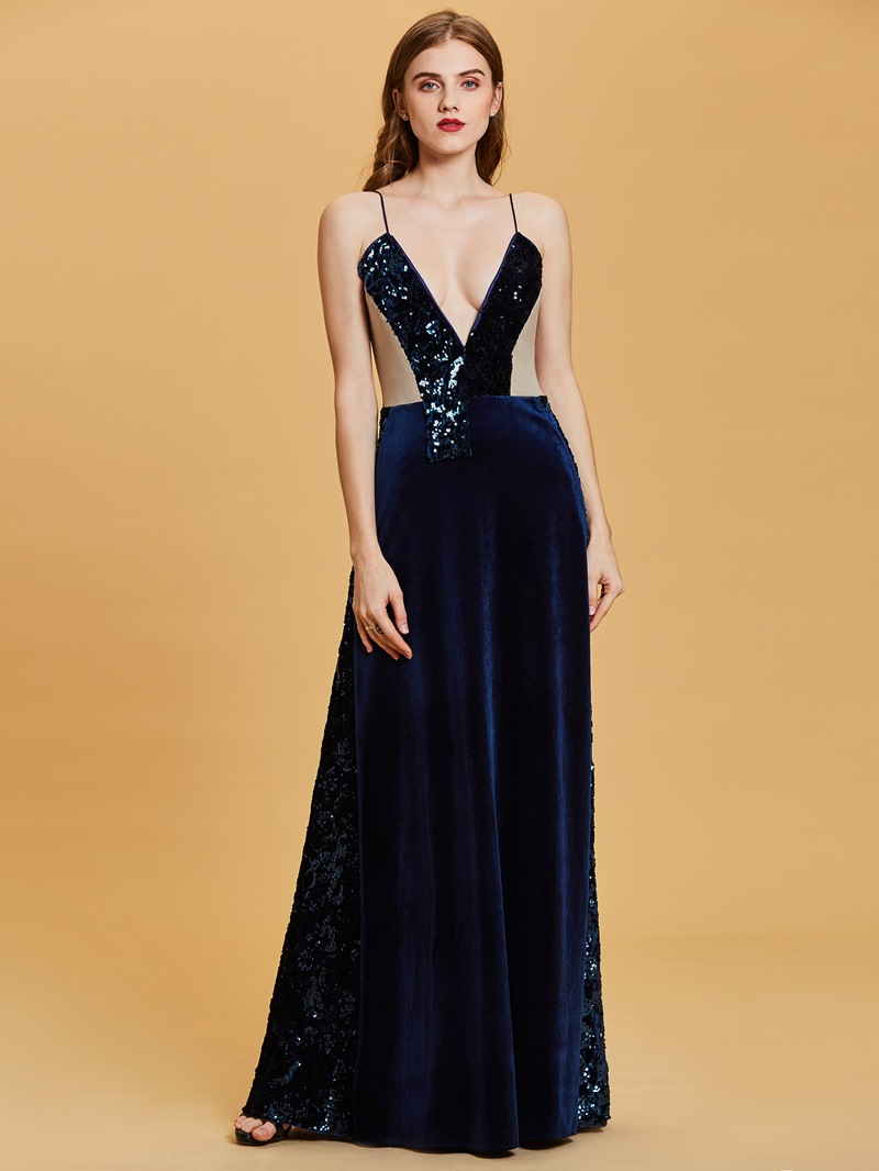 Ericdress Spaghetti Straps Sequins A Line Evening Dress