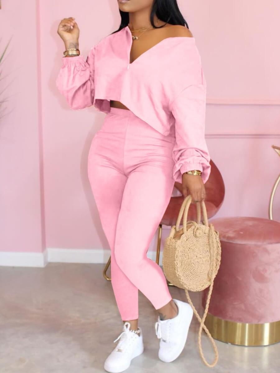 LW Lovely Casual Patchwork Pink Two Piece Pants Set