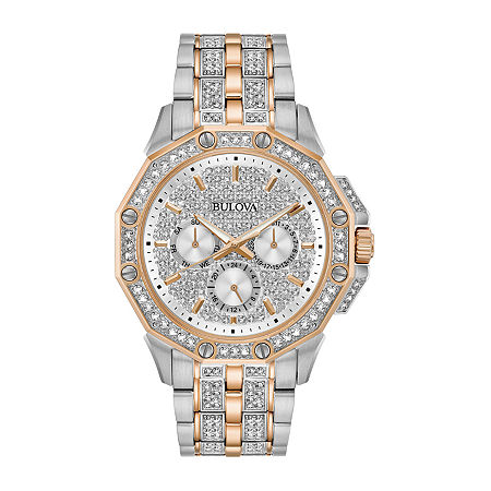 Bulova Octava Mens Crystal Accent Two Tone Stainless Steel Bracelet Watch-98c133, One Size , No Color Family