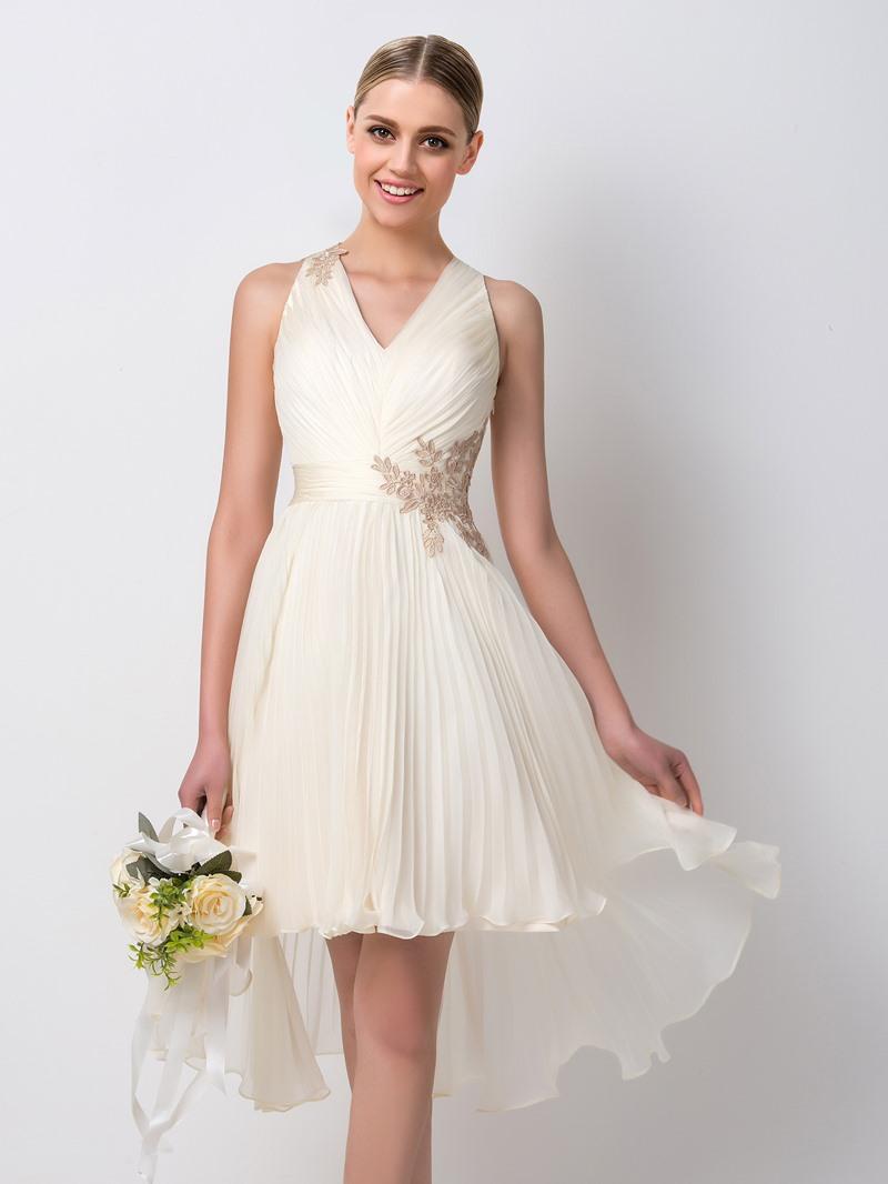 Ericdress Appliques Pleats Beach Bridesmaid Dress