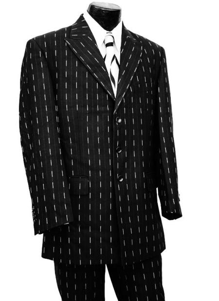 Dotted Pinstripes 2pc Zoot Suit Set - Silver Stripes
