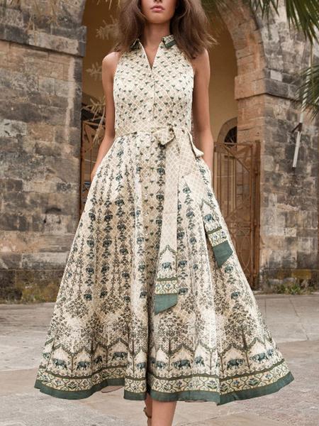 Milanoo Boho Dress Lace Up Turndown Collar Sleeveless Printed Knotted Beach Dress