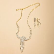 3pcs Rhinestone Decor Tassel Jewelry Set