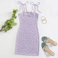 Knot Strap Ditsy Floral Slip Dress