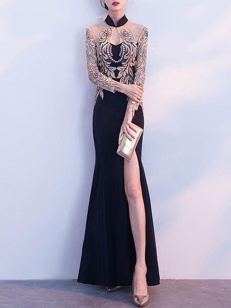 Milanoo Vestidos de fiesta Cuello alto negro Mangas largas Vestido largo con corte dividido y transparente