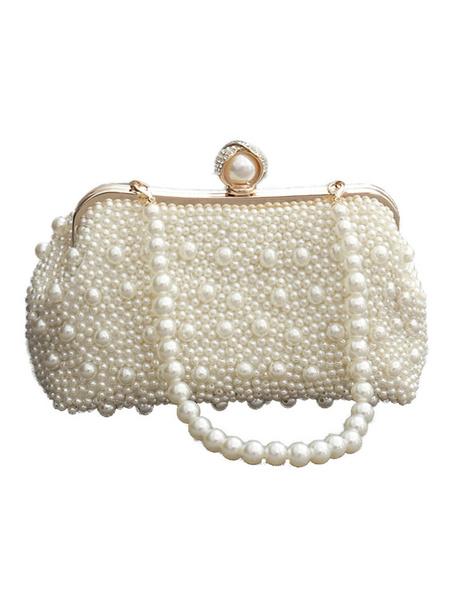 Milanoo Wedding Handbags Pearls Kiss Lock Hobo Small Wedding Clutch Bags