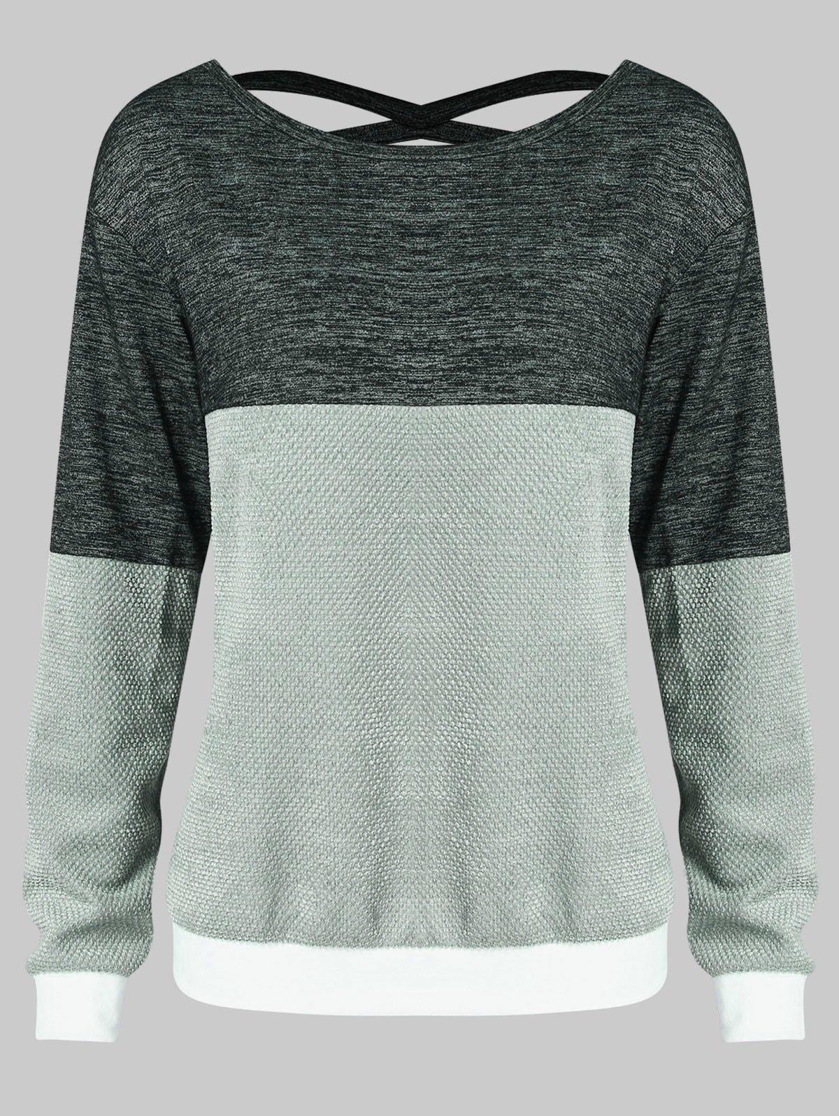 Hit Color Strappy Cut Sweatshirt