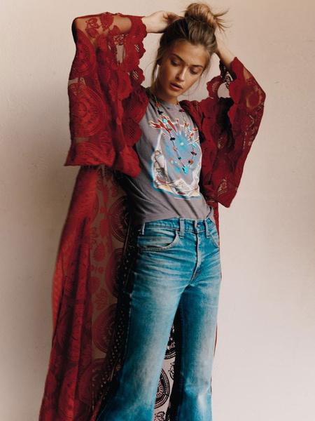 Milanoo Lace Kimono Jacket Women Long Sleeve Open Front Longline Jacket