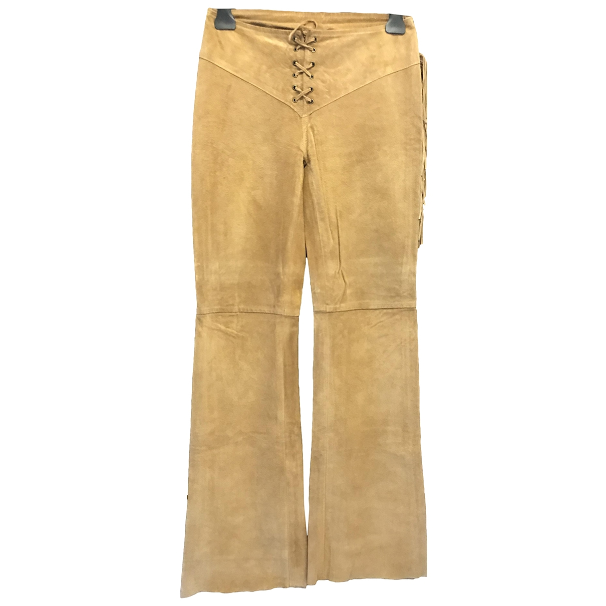 Non Signé / Unsigned \N Brown Suede Trousers for Women 44 IT
