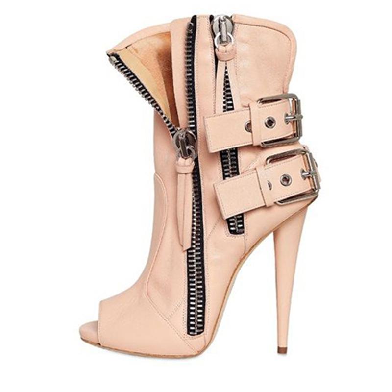 Ericdress Cool Buckles Peep Toe High Heel Boots