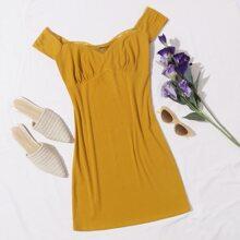 Lace Trim Ruched Bust Rib-knit Dress