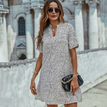 Notched Neck Dalmatian Print Tunic Dress