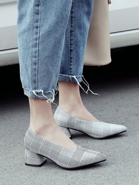 Milanoo Women Mid-Low Heels Light Gray Classic Pointed Toe Chunky Heel Slip-On Elegant Pumps