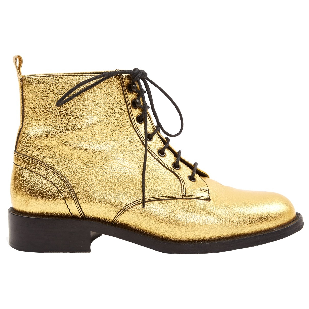 Saint Laurent \N Gold Leather Ankle boots for Women 37 EU