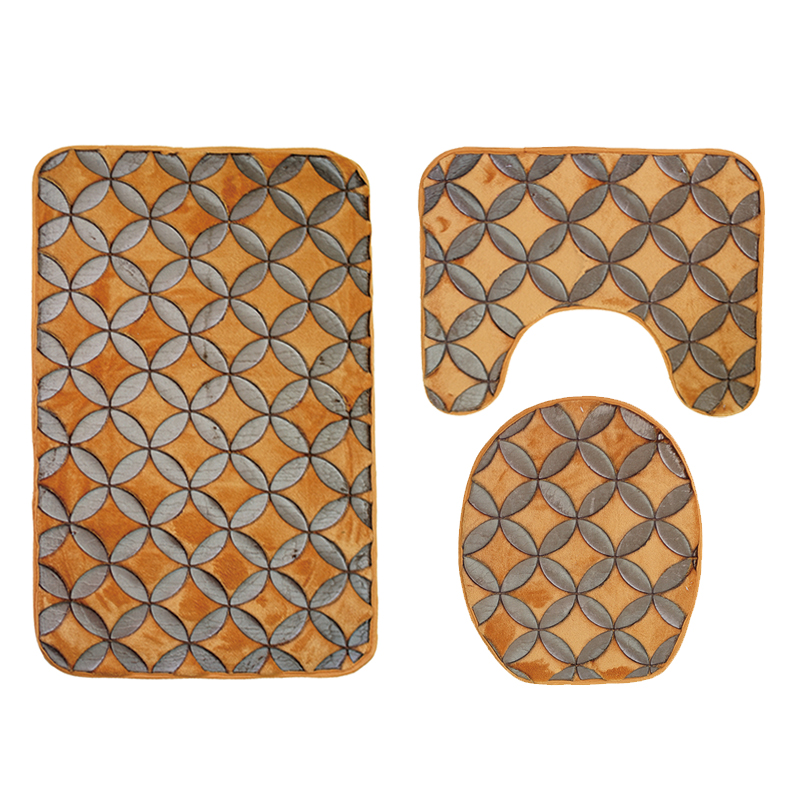 Repeated Symmetrical Pattern 3-Piece Toilet Seat Cover