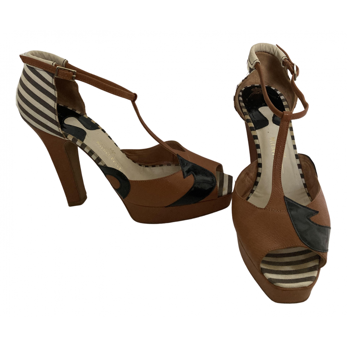 Michel Perry N Multicolour Leather Sandals for Women 40 EU