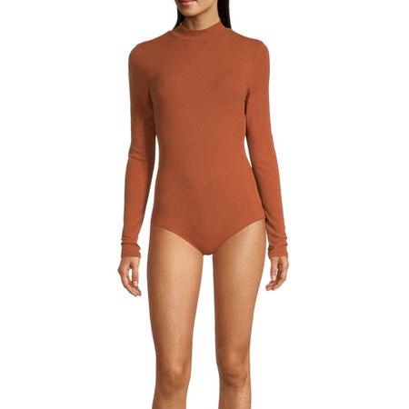 Self Esteem Womens Mock Neck Long Sleeve Bodysuit-Juniors, Small , Orange