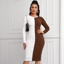 Drop Shoulder Spliced Dress