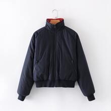 Einfarbige Jacke mit Reissverschluss und Stehkragen
