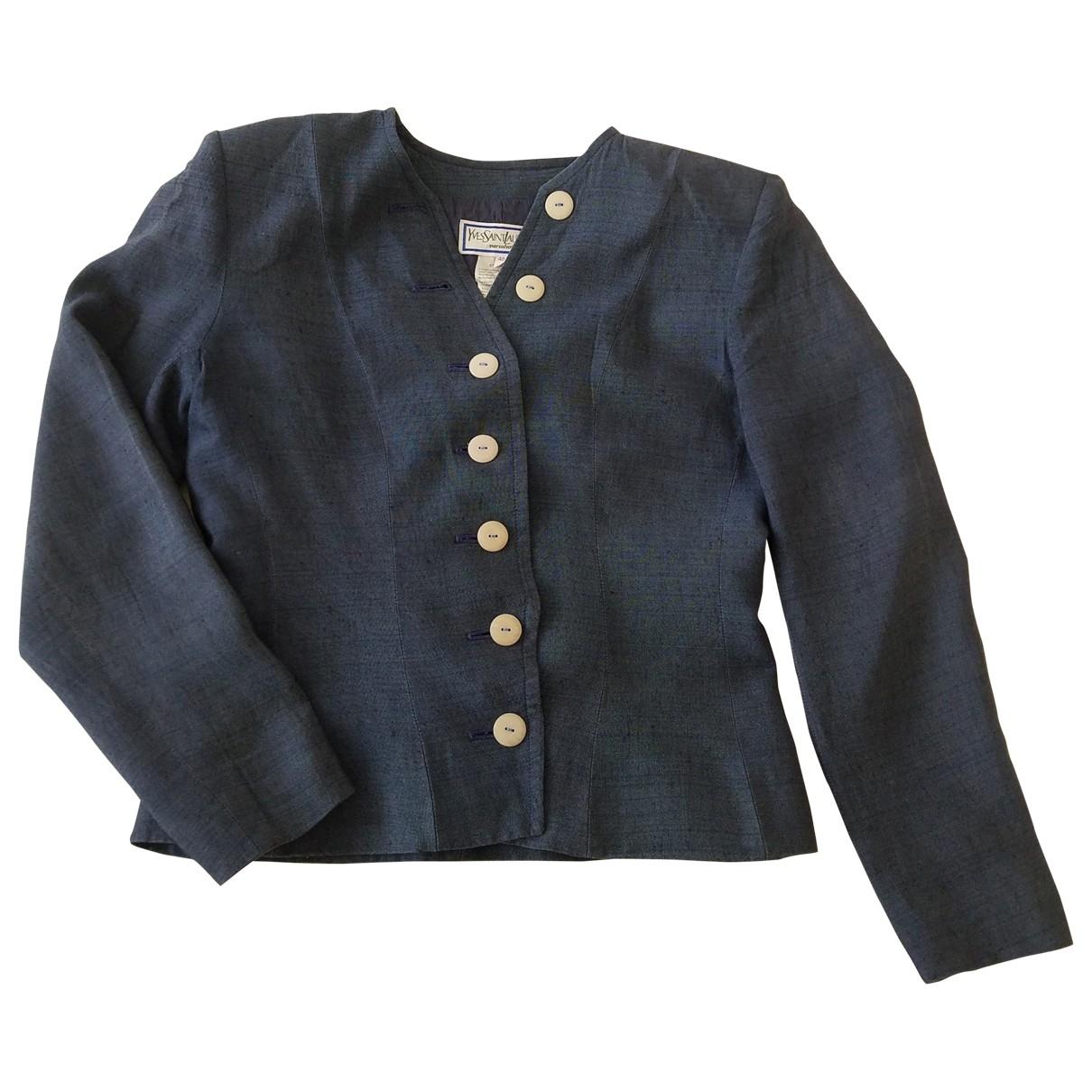 Yves Saint Laurent \N Blue Linen jacket for Women 40 FR