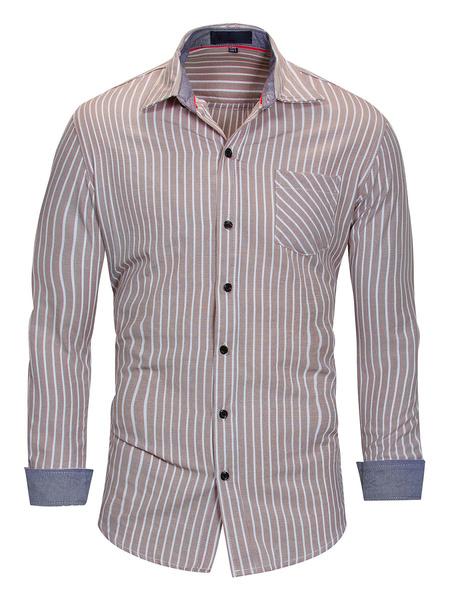 Milanoo Camisa de rayas 100% algodon de ajuste regular para hombre en azul