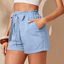 Shorts con bolsillo oblicuo de cintura con lazo